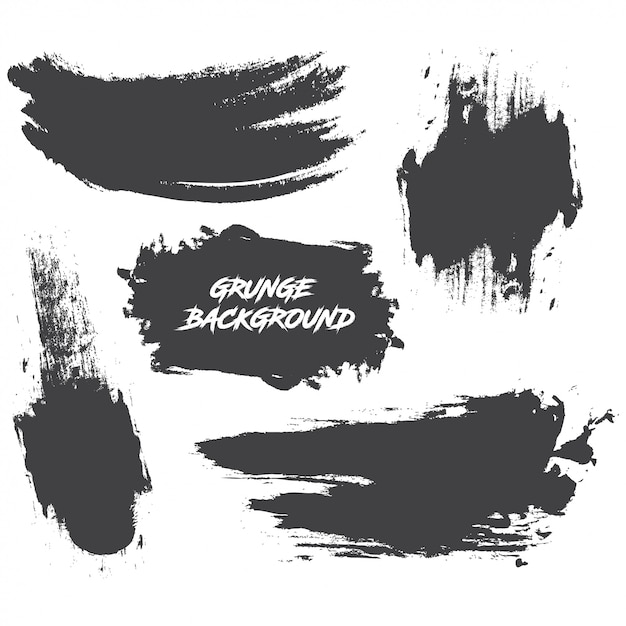 Ensemble de peinture noire, coups de pinceau d'encre, pinceaux, lignes Vecteur Premium