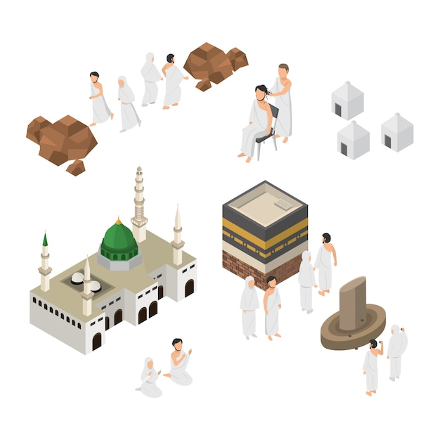 Ensemble de pèlerinage illustration hajj à la mecque isométrique Vecteur Premium