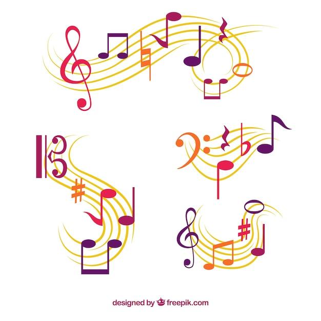 Ensemble de pentagrammes avec des notes musicales Vecteur gratuit