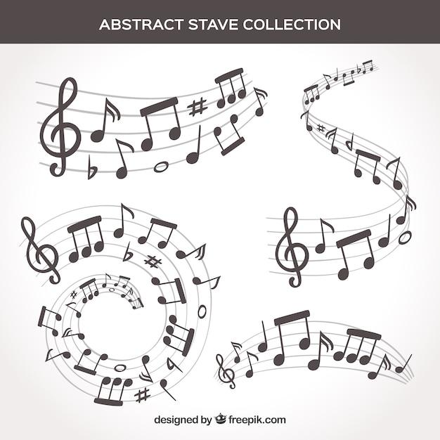 Ensemble De Pentagrammes Et Notes De Musique Vecteur Premium