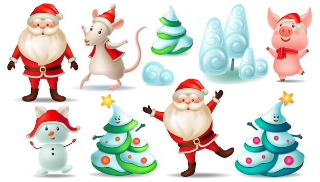 Ensemble De Père Noël, Arbre De Noël, Rat, Cochon. Vecteur Premium