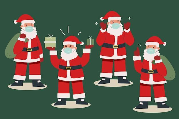 Ensemble, De, Père Noël, Porter, Masque Médical Vecteur gratuit