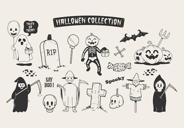 Ensemble de personnage de dessin animé doodle esquisse halloween. Vecteur Premium