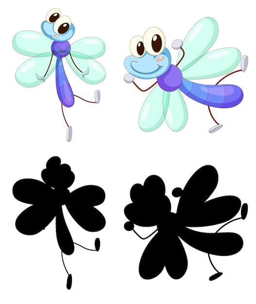 Ensemble De Personnage De Dessin Animé Insecte Et Sa Silhouette Sur Fond Blanc Vecteur gratuit