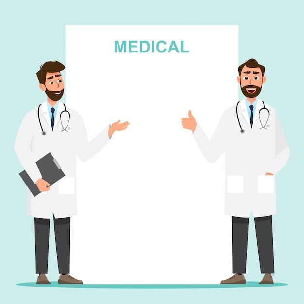 Ensemble de personnage de dessin animé de médecin avec espace de copie Vecteur Premium