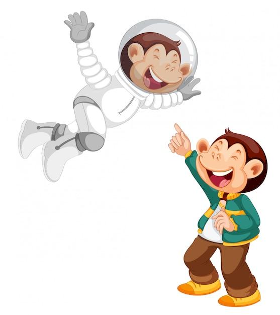 Ensemble de personnage de dessin animé de singe Vecteur gratuit