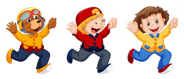 Ensemble de personnage de dessin animé Vecteur gratuit