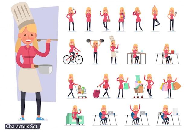 Ensemble de personnage de différentes activités de style de vie fille Vecteur Premium