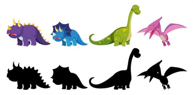 Ensemble de personnage de dinosaure Vecteur Premium