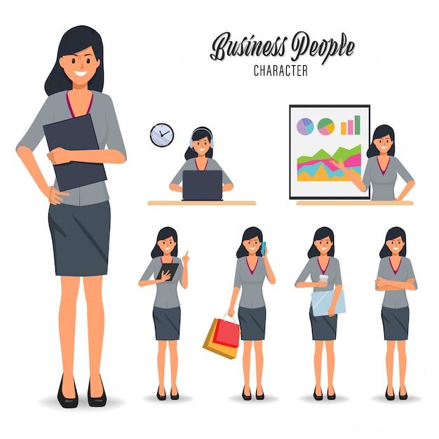 Ensemble de personnage de femme d'affaires dans la routine quotidienne du travail. Vecteur Premium