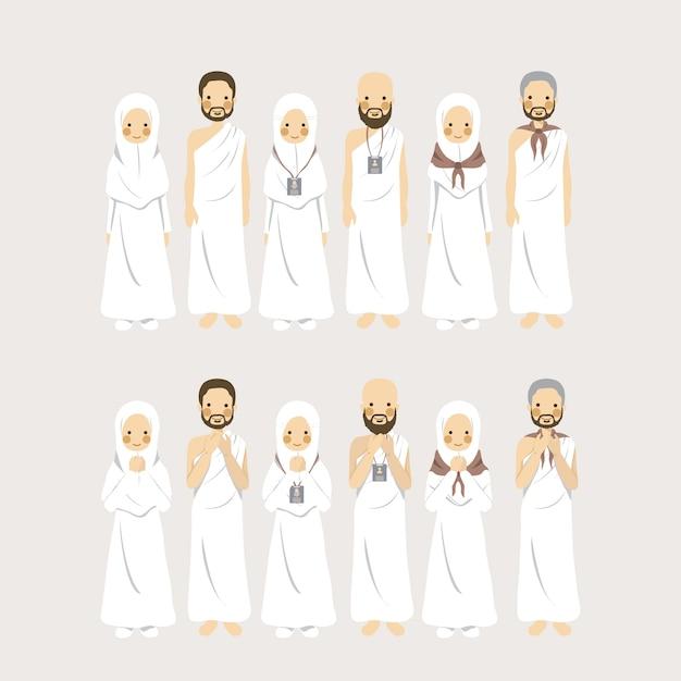 Ensemble de personnage figuratif couple musulman hajj et umrah comme pèlerinage islamique dans différents signes d'identification Vecteur Premium