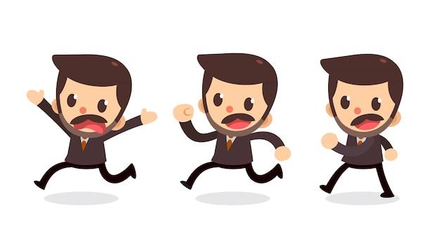 Ensemble De Personnage D'homme D'affaires En Actions. Marcher Et Courir. Vecteur Premium
