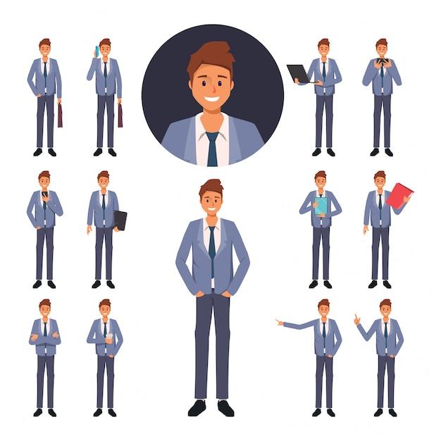 Ensemble de personnage d'homme d'affaires dans l'emploi Vecteur Premium