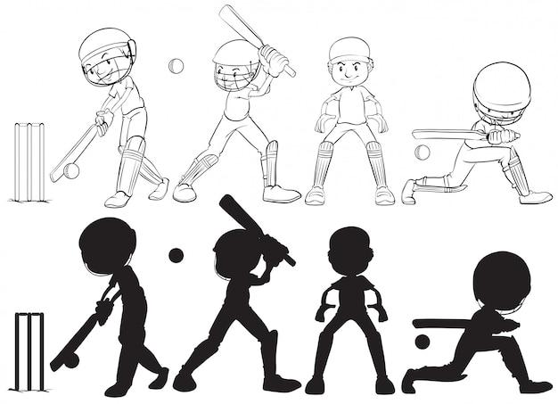 Ensemble de personnage de joueur de cricket Vecteur gratuit
