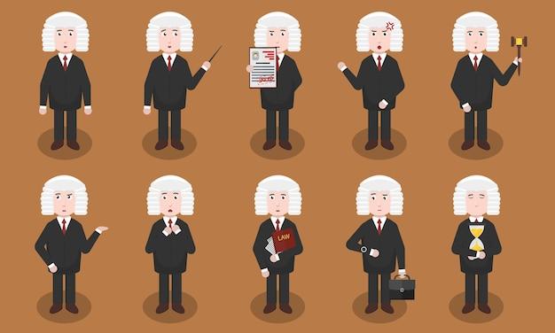 Ensemble De Personnage De Juge De Bande Dessinée Dans Diverses Situations Et émotions. Concept D'autorité Juridique, De Cour Et De Justice. Vecteur Premium