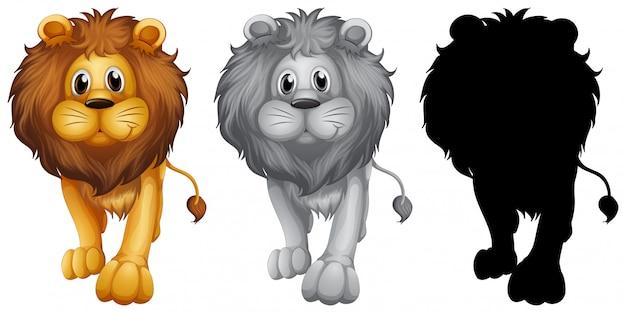 Ensemble de personnage de lion Vecteur gratuit