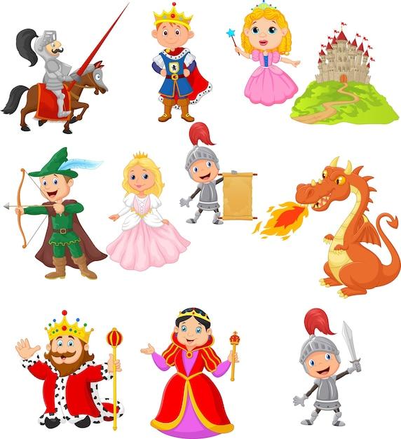 Ensemble de personnage médiéval de conte de fées Vecteur Premium