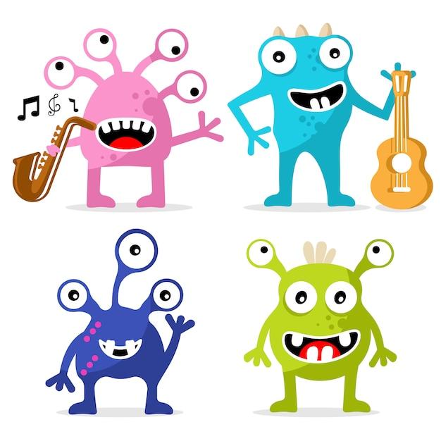 Ensemble de personnage de monstres mignons. journée spéciale jazz Vecteur Premium