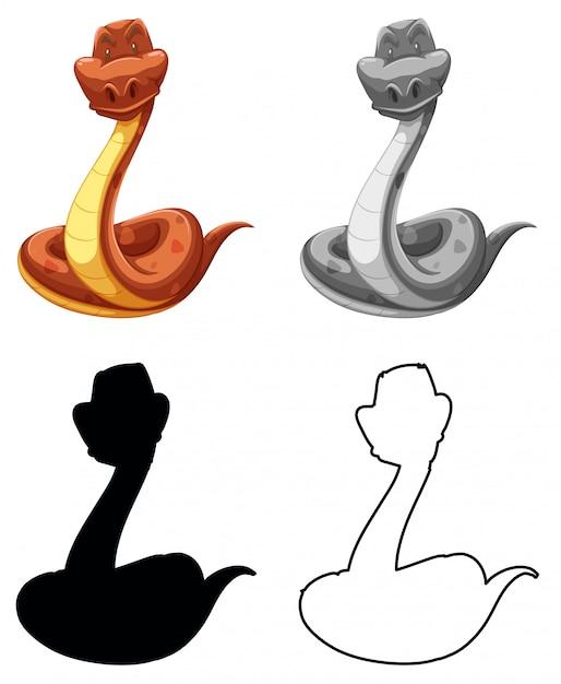 Ensemble de personnage de serpent Vecteur gratuit