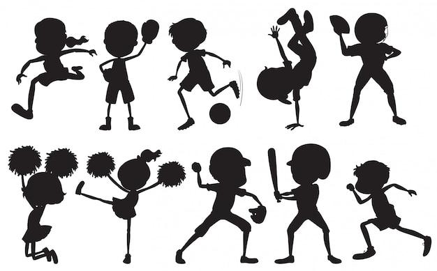 Ensemble de personnage sportif sport silhouette Vecteur gratuit