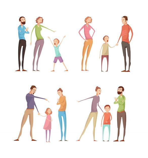Ensemble de personnages adultes et enfants de doodle plat isolé Vecteur Premium