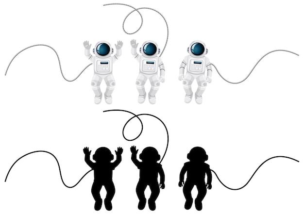 Ensemble De Personnages De L'astronaute Et Sa Silhouette Sur Blanc Vecteur gratuit