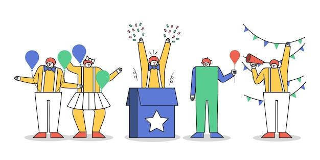 Ensemble De Personnages De Clown En Costumes Pour Spectacle De Cirque Ou Fête Vecteur Premium