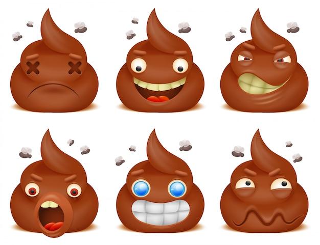 Ensemble de personnages de dessins animés de drôle emoticon poo. Vecteur Premium