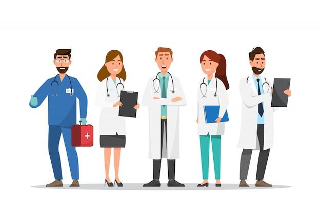 Ensemble de personnages de dessins animés médecin et infirmière Vecteur Premium