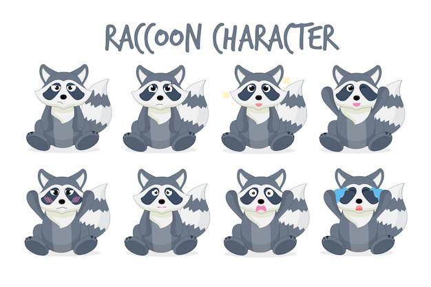 Ensemble de personnages de dessins animés de raton laveur Vecteur Premium