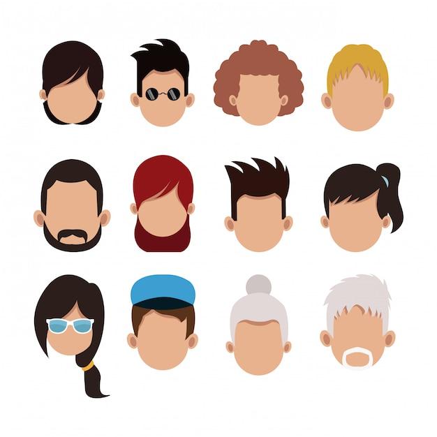 Ensemble de personnages de dessins animés sans visage Vecteur Premium