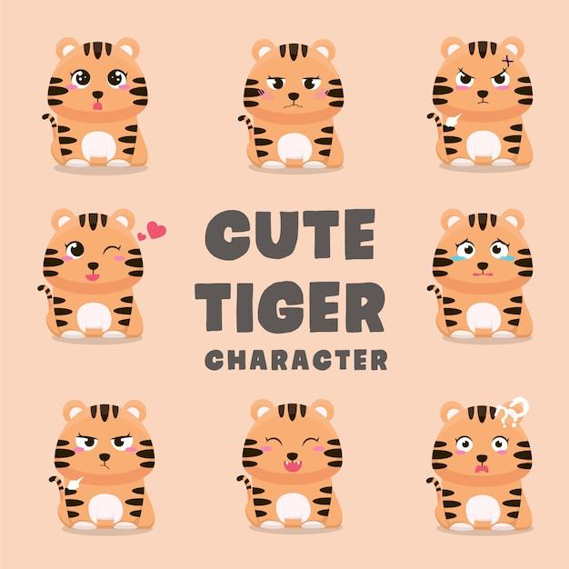 Ensemble de personnages de dessins animés tigre mignon Vecteur Premium