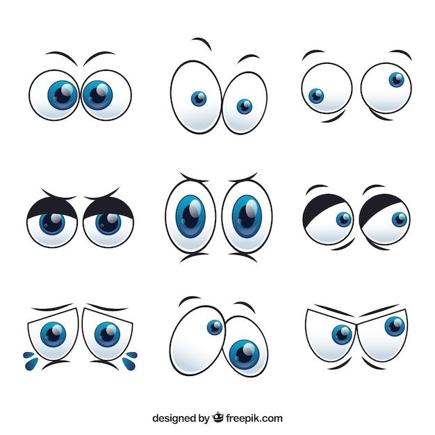 Ensemble de personnages de dessins animés yeux Vecteur gratuit