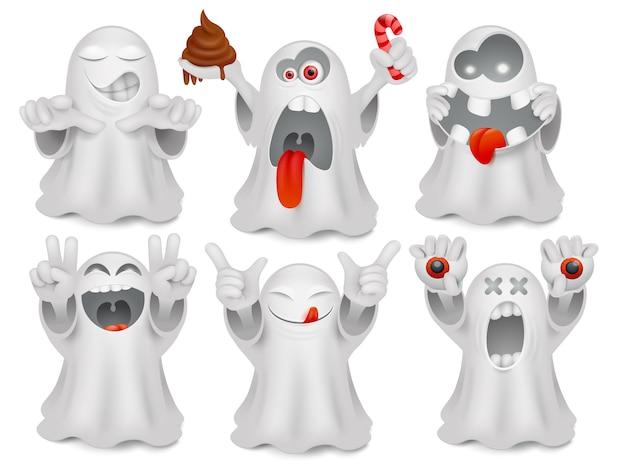 Ensemble de personnages de fantômes de dessin animé émoticône mignon. Vecteur Premium