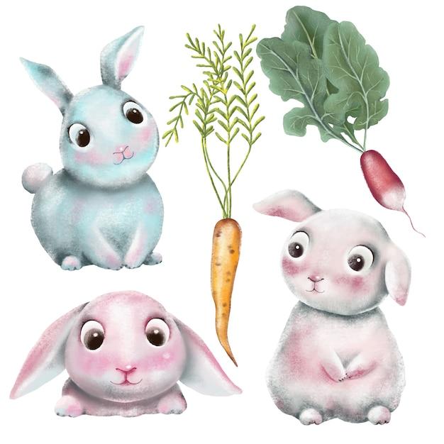 Ensemble de personnages de lapins dessinés à la main Vecteur Premium