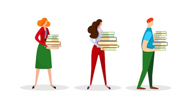 Ensemble de personnages masculins et féminins détiennent des livres tas. Vecteur Premium