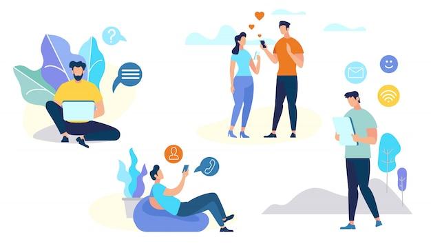 Ensemble de personnages parlant au téléphone mobile Vecteur Premium