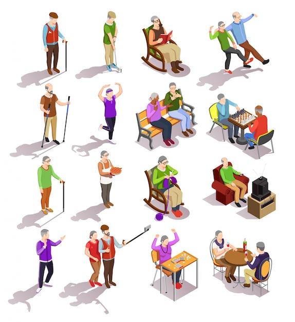 Ensemble De Personnes âgées Isométriques Au Cours De Diverses Activités De Cuisson Des Exercices Physiques Avec Des Amis Isolés Vecteur gratuit