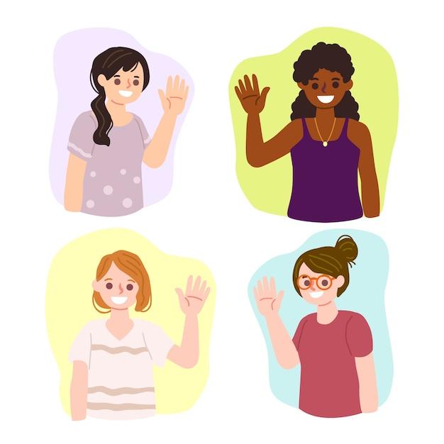 Ensemble de personnes agitant la main Vecteur gratuit