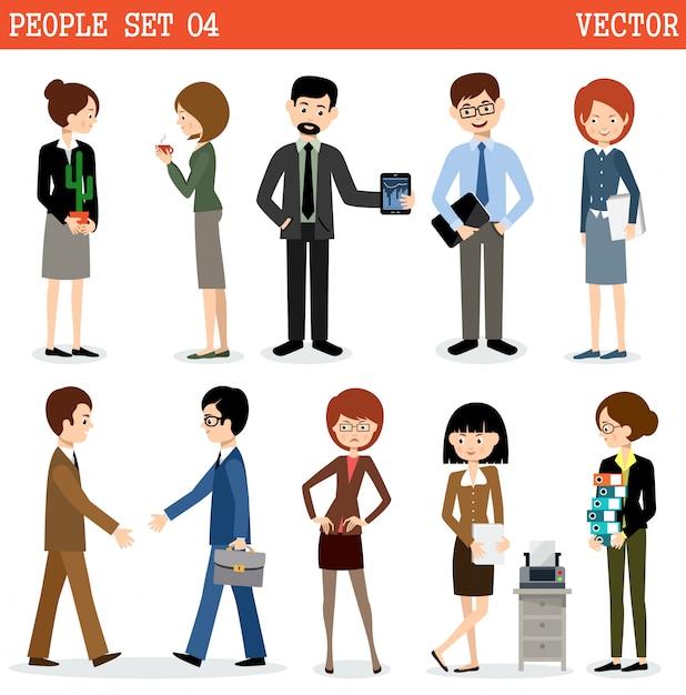 Ensemble De Personnes Au Bureau. Vecteur Premium