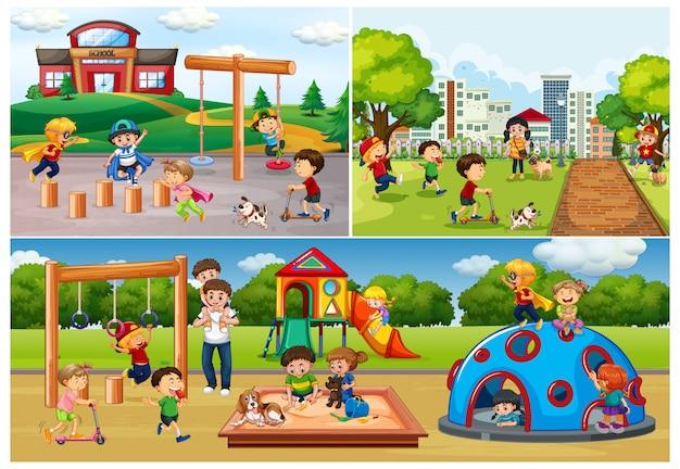 Ensemble De Personnes Au Parc Et Aire De Jeux Vecteur gratuit