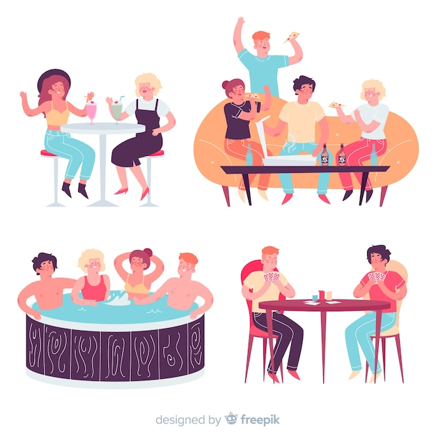 Ensemble de personnes célébrant la journée de l'amitié Vecteur gratuit