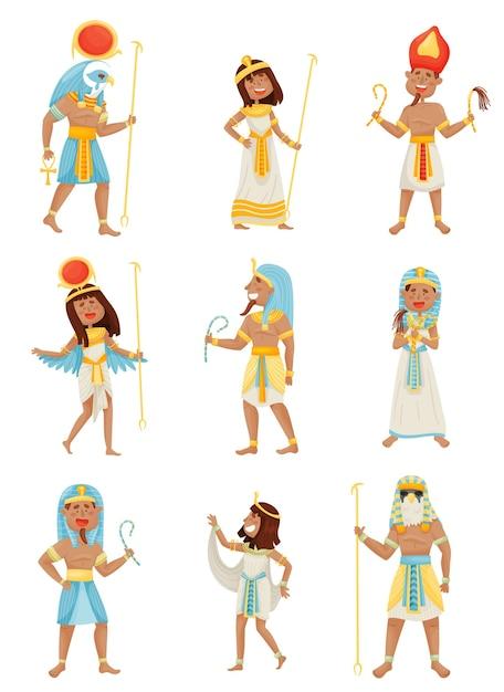 Ensemble De Personnes En Costumes Des Pharaons Vecteur Premium