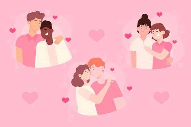 Ensemble De Personnes étreignant La Saint-valentin Vecteur gratuit