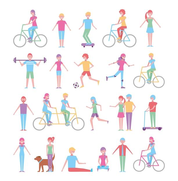 Ensemble de personnes faisant des activités de loisirs Vecteur gratuit