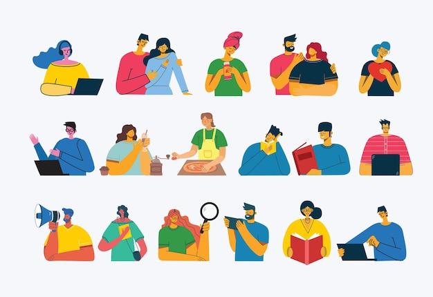 Ensemble De Personnes, Hommes Et Femmes, Famille Avec Enfants Lit Livre, Fonctionne Sur Ordinateur Portable Vecteur Premium
