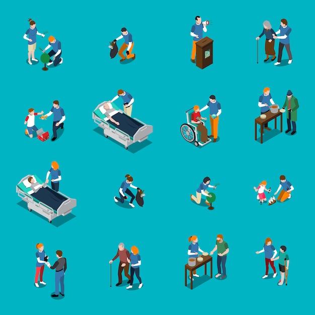 Ensemble de personnes isométriques bénévoles de la charité Vecteur gratuit