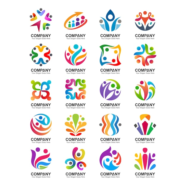 Ensemble de personnes et logo de la communauté Vecteur Premium