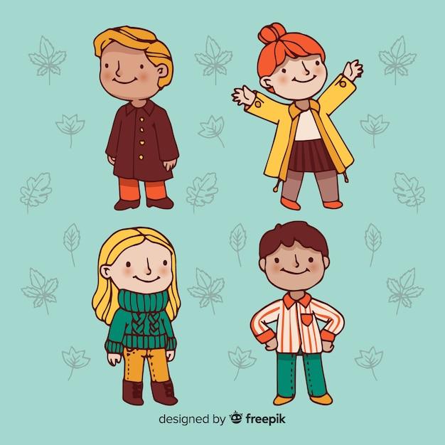 Ensemble de personnes portant des vêtements d'automne Vecteur gratuit