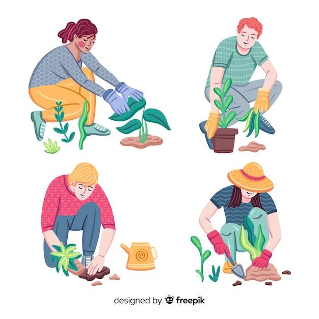 Ensemble de personnes prenant soin des plantes Vecteur gratuit